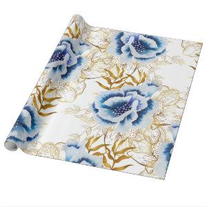Blue and Gold Watercolor Anemone Wrapping Paper