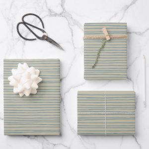 Blue and Taupe Abstract Lines Pattern Wrapping Paper Sheets