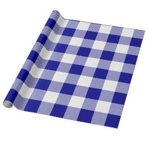Blue and White Buffalo Plaid Wrapping Paper