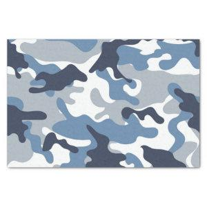 Blue and White Camouflage Tissue Paper