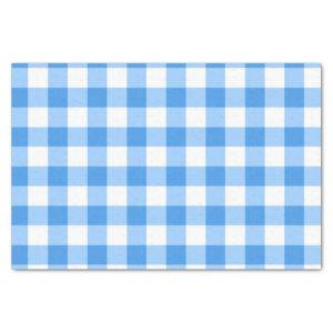 Blue And White Gingham Check Pattern Tissue Paper