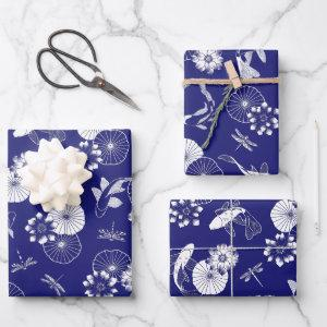 Blue and White Koi Fish in Lotus Pond Pattern  Sheets