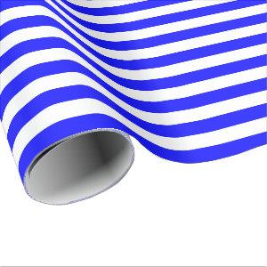 Blue and White Stripe Wrapping Paper