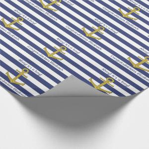 Blue and White Striped Nautical Boy Baby Shower Wrapping Paper
