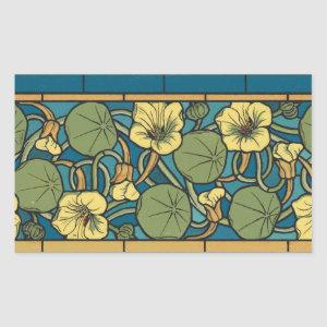 Blue and Yellow Floral Pattern Rectangular Sticker