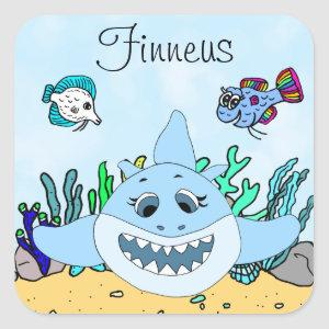 Blue Baby Shark Personalized Square Sticker