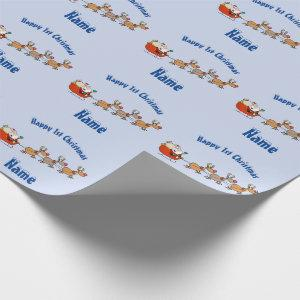 BLUE Babys 1st Christmas Giftwrap Personalised