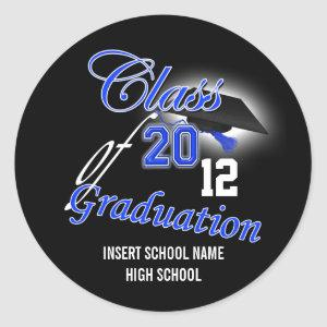 "Blue black graduation ""class of"" announcement classic round sticker"