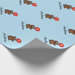 Blue boy 1st Birthday teddy bear wrappingpaper