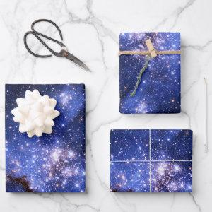 Blue Celestial Galaxy Stars Photo Wrapping Paper Sheets
