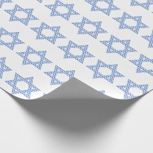 Blue Chevron Star of David Hanukkah Wrapping Paper