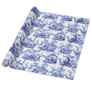 Blue Chinoiserie Toile Wrapping Paper
