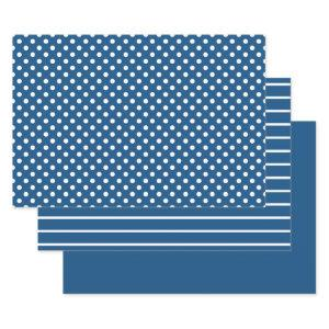 Blue Classic White Polka Dot Stripes Wrapping Paper Sheets