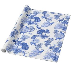 Blue Classical French Country Toile Deer Forest Wrapping Paper