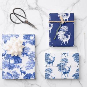 Blue Classical French Country Toile Deer Forest Wrapping Paper Sheets