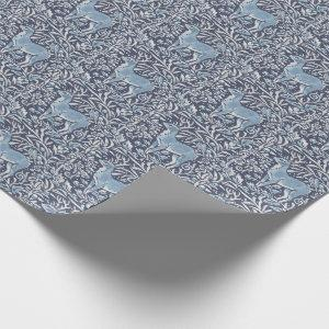 Blue Deer Vintage Animal Nature Christmas Pattern Wrapping Paper