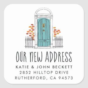 Blue Door Moving Announcement Stickers