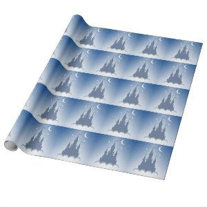 Blue Dreamy Castle In The Clouds Starry Moon Sky Wrapping Paper