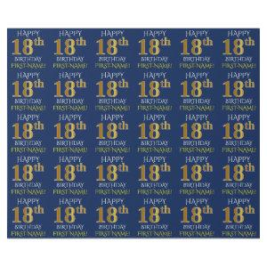 "Blue, Faux Gold ""HAPPY 18th BIRTHDAY"" Wrapping Paper"