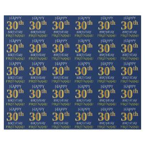 """Blue, Faux Gold """"HAPPY 30th BIRTHDAY"""" Wrapping Paper"""