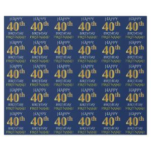 "Blue, Faux Gold ""HAPPY 40th BIRTHDAY"" Wrapping Paper"