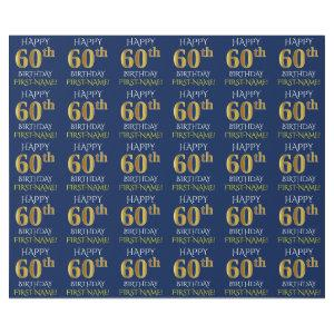 """Blue, Faux Gold """"HAPPY 60th BIRTHDAY"""" Wrapping Paper"""