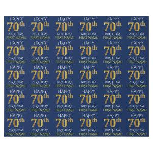 "Blue, Faux Gold ""HAPPY 70th BIRTHDAY"" Wrapping Paper"