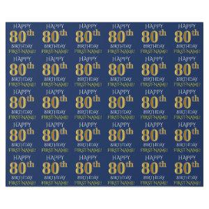 """Blue, Faux Gold """"HAPPY 80th BIRTHDAY"""" Wrapping Paper"""
