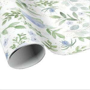 Blue Floral Bridal Wrapping Paper