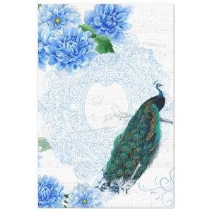 Blue Floral Peacock Tissue Paper