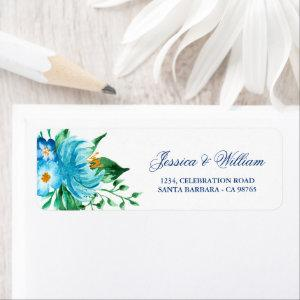 Blue Florals Watercolor Wedding Return Address Label