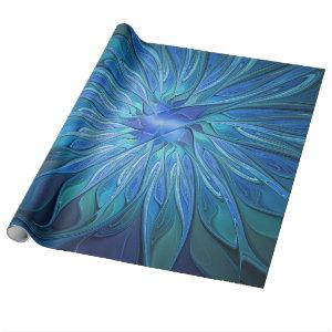 Blue Flower Fantasy Pattern, Abstract Fractal Art Wrapping Paper