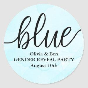 Blue Gender Reveal Baby Shower Classic Round Sticker