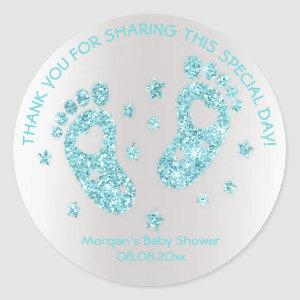 Blue Glitter Feet Baby Shower Favor Thank Classic Round Sticker