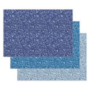 Blue Glitter Wrapping Paper Sheets