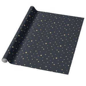 Blue & Gold Christmas Stars Wrapping Paper