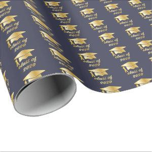 Blue Gold Class of 2020 Graduate Cap Graduation Wrapping Paper