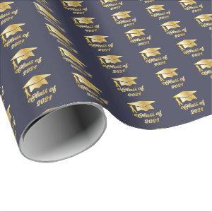 Blue Gold Class of 2021 Graduate Cap Graduation Wrapping Paper