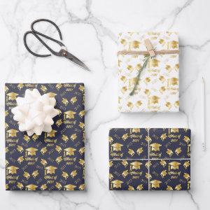 Blue Gold Class of 2021 Graduate Cap Graduation Wrapping Paper Sheets