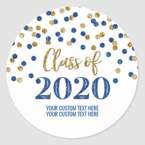 Blue Gold Glitter Confetti Graduation 2020 Classic Round Sticker