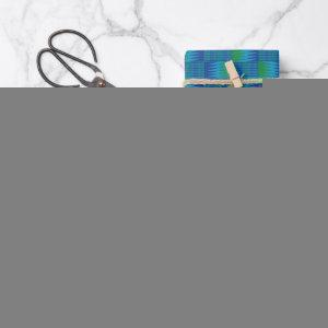 Blue Green Comb Kente Wrapping Paper Sheets