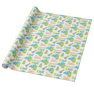 Blue Green Dinosaur Party Kids Birthday Wrapping Paper