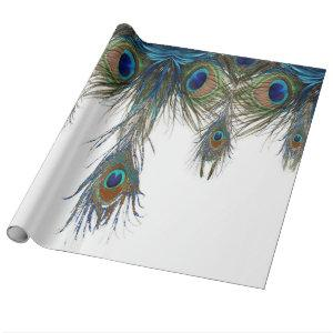 blue-green-peacock-feathers-art- wrapping paper