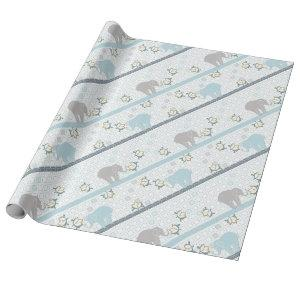 Blue & Grey Stripe Elephant Safari | Baby Shower Wrapping Paper