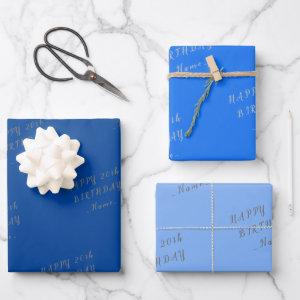 Blue Happy Birthday Wrapping Paper Sheets