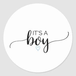 Blue Heart | Black Calligraphy It's A Boy Favor Classic Round Sticker