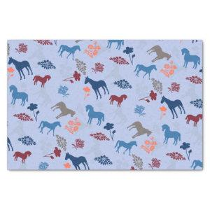 Blue Horse And Flower Tissue Paper