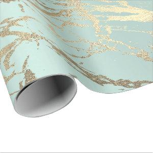 Blue Ice Pastel Gold Marble Shiny Abstract Wrapping Paper