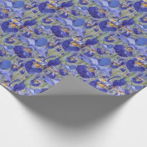 Blue Iris Floral Pattern Wrapping Paper