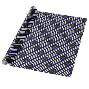 Blue Lives Matter - US Flag Police Thin Blue Line Wrapping Paper